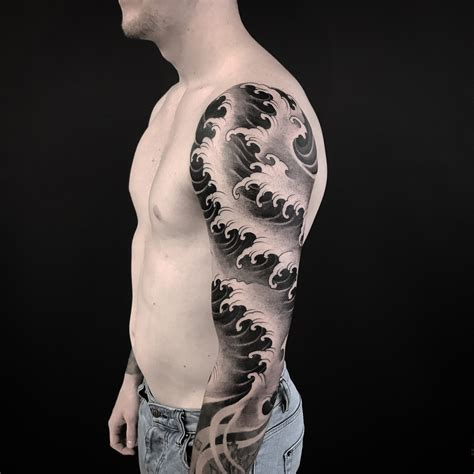 japanese waves sleeve best tattoo design ideas
