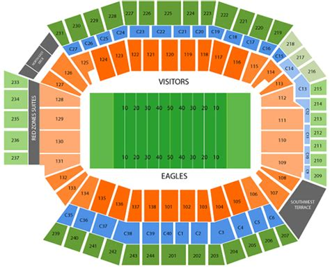 seating capacity of lincoln financial field philadelphia eagles seating chart lincoln financial field