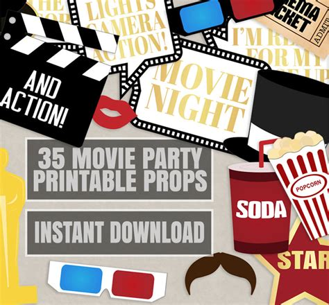 free printable movie themed photo booth props 35 movie night party props hollywood photo booth party prop