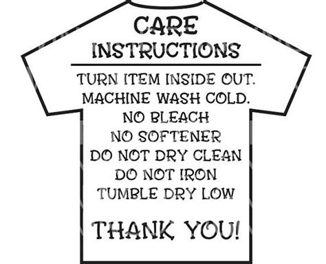 printable iron on instructions care instructions digital file t shirt care instructions