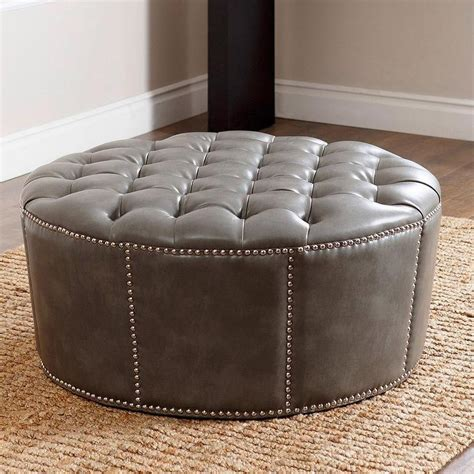 round grey ottoman abbyson living newport grey leather nailhead trim round