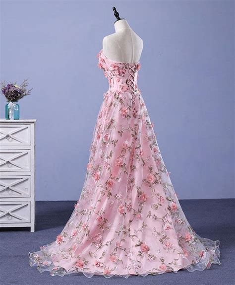 beautiful light pink flowers romantic long formal gowns