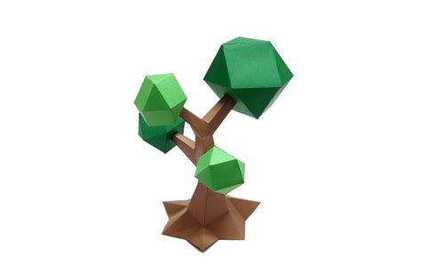 Tree Papercraft - diy lowpoly tree 3d papercraft by pap design bundles
