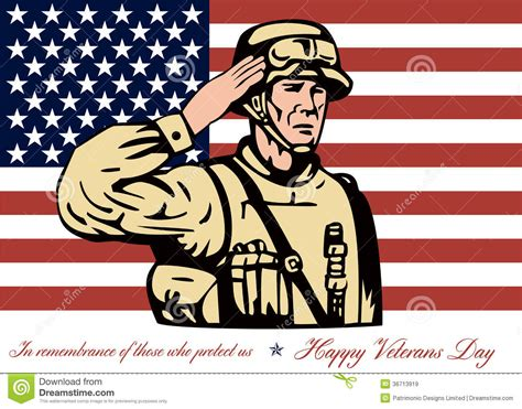 happy veterans day to army soldiergreeting card template happy veterans day greeting card soldier salute stock