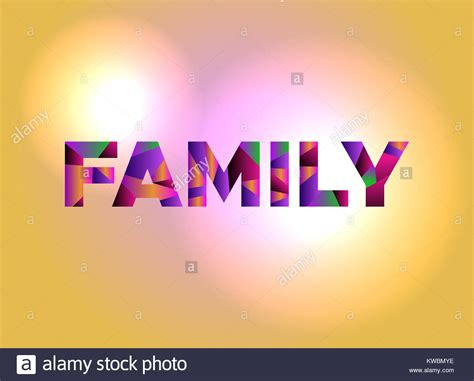 another word for colorful the word family written in colorful abstract word on a