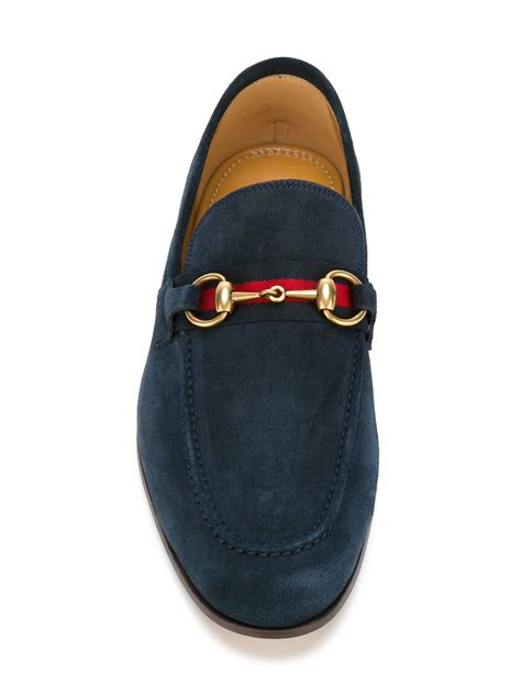 gucci suede loafer lyst gucci suede loafers in blue for