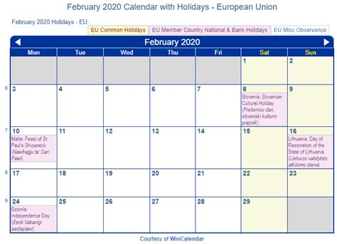print friendly february  eu calendar  printing
