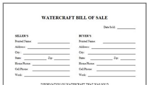 Boat And Trailer Bill Of Sale Personal Watercraft Bill Of Sale Template