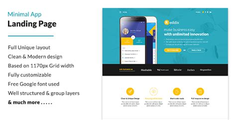 themeforest app landing page minimal app landing page psd templates themeforest