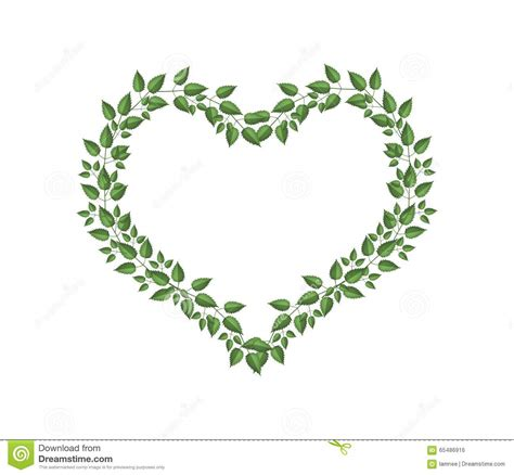heart vine pattern green vine leaves in a heart shape stock illustration