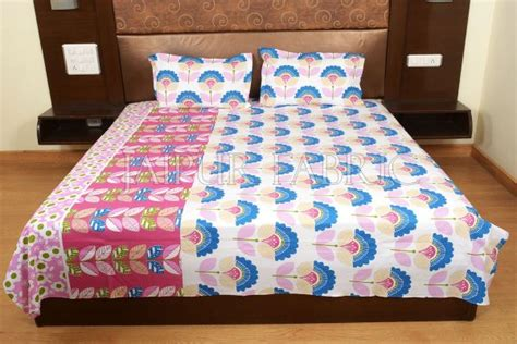 Floral Print Bed Sheet pink and blue floral print cotton bed sheet