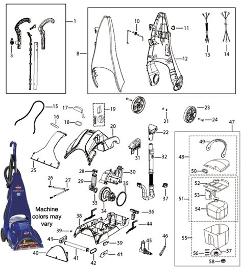 bissell proheat parts diagram bissell 1692 powersteamer clearview cleaner parts