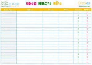Party guest list template word dotxes