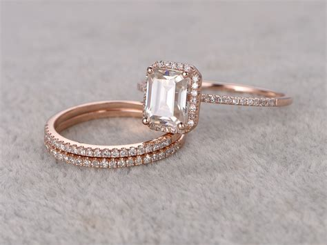 Band Engagement Moissanite Ring Wedding by Emerald Cut Moissanite Engagement Rings Wedding