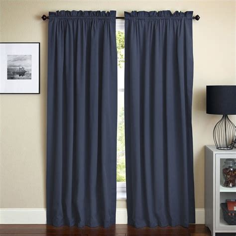 108 in curtain panels blazing needles 108 inch twill curtain panels in navy blue