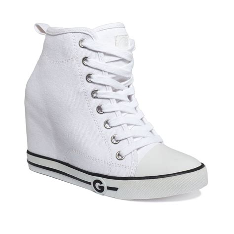 white high top sneakers for g by guess womens majestey wedge high top sneakers in