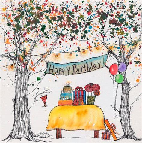 birthday painting reserved for amitachandra happy birthday tree original