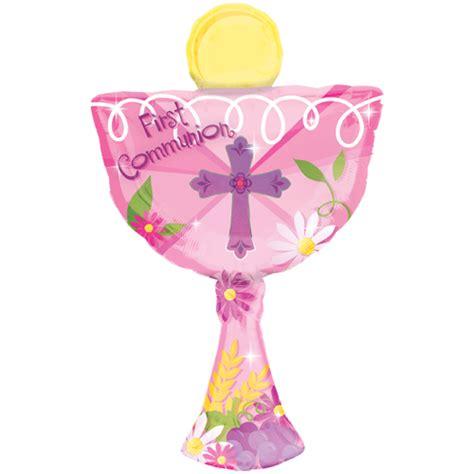 31 1st communion pink chalice supershape foil balloon 9354 p png
