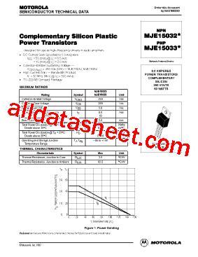 datasheet transistor mje15033 mje15033 datasheet pdf motorola inc