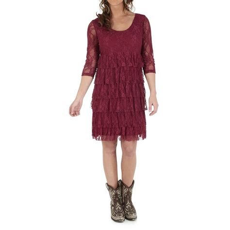 2 Die 4 Tiered Lace Dress by Wrangler Tiered Lace Dress For Save 75