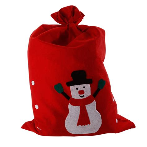 large red father christmas xmas santa sack snowman gift