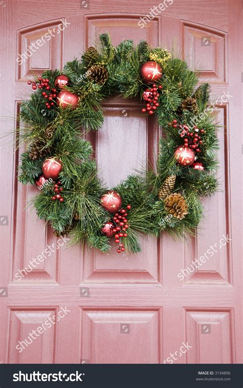 how to make a christmas door hanging on youtube wreath hanging on door stock photo 3194896