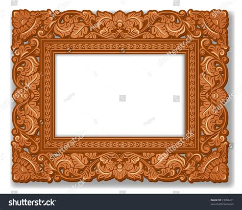 0063 royal wooden royal carved royal picture frame carved wood stock vector 73082461