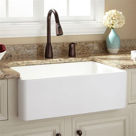 Apron Kitchen Sink 30 Quot Baldwin Fireclay Farmhouse Sink With Smooth Apron Ebay