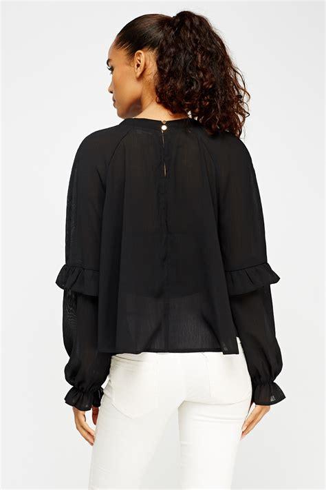 Blouse Black Pearl sheer friled embellished pearl blouse black just 163 5