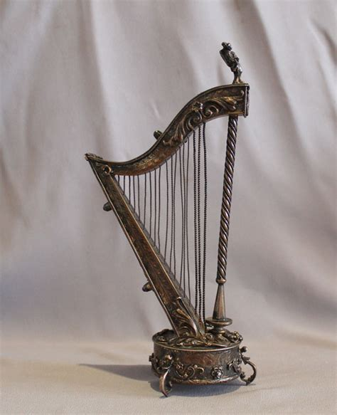 Silver L Harp by Antique Musical Harp Silver Gilt And Jewelled Austro