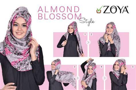 hijab tutorial kerudung zoya lebih pas untuk cantikmu almond blossom stle kenakan kerudung segiempat zoya