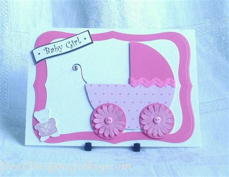 Handmade New Baby Cards - handmade new baby card pink pram folksy