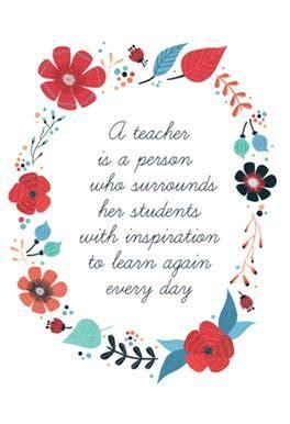 Inspired Teaching   Thank You Card For Teacher   Greetings