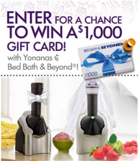 Bed Bath And Beyond Gift Card Amazon - yonanas and bed bath beyond dream wedding gift registry sweepstakes win a 1 000
