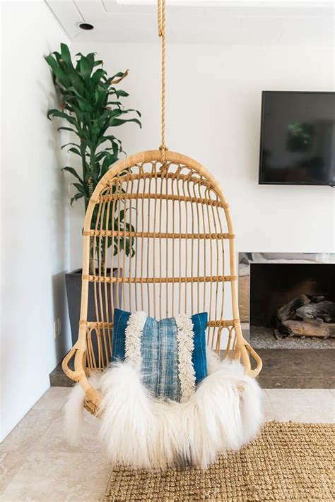 hanging living room chair a serene bohemian bungalow swing chairs living room styles and glitter