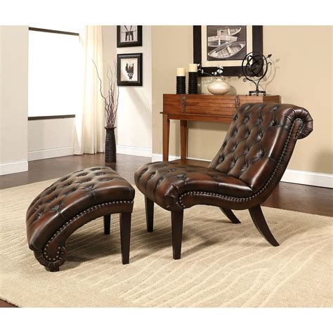 Chaise Lounge Ottoman Abbyson Encore Brown Tufted Leather Chaise Lounge With Ottoman Ebay
