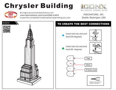 Mini Arsitektur Chrysler Building innovatoys metal earth iconx chrysler building 3d laser cut miniature landmark model kits