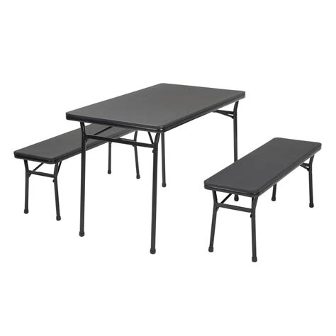 3 piece folding table and bench set cosco 3 piece black folding table and bench set 37331blk1e