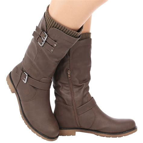 sock boots size 2 womens low heel buckle zip up biker sock boots