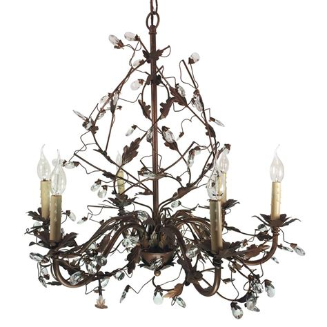 Bel Air Lighting Chandelier Bel Air Lighting Iron Leaf 6 Light Antique Gold Chandelier With Crystals 3583 Ag The Home Depot
