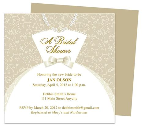 Printable Templates Bridal Shower | dress bridal shower invitation templates printable diy