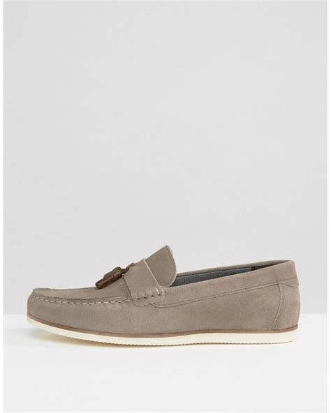 grey suede loafers asos tassel loafers in grey suede in grey for lyst