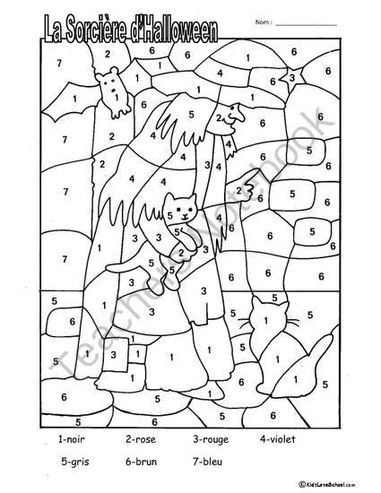 french color by numbers coloring pages halloween colouring activities and haunted house number