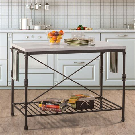 castille metal kitchen island textured black with white