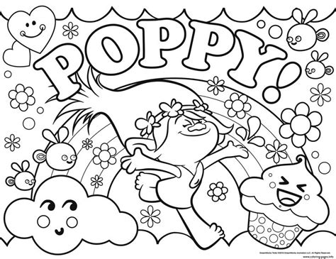 coloring pages princess poppy print trolls poppy coloring pages color time pinterest