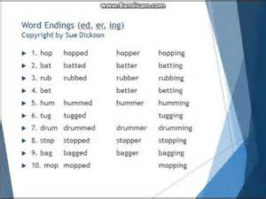 word endings ed er ing copyright by sue dickson