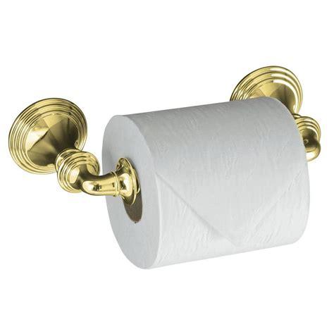 brass toilet paper holder kohler devonshire wall mount post toilet paper holder in vibrant polished brass k 10554