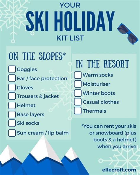 ski holiday packing list elle croft