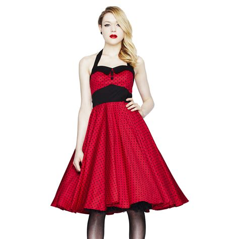 swing evening dress hell bunny ashley red polka dot fit n flare vintage 50s