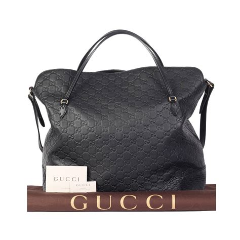 gucci guccissima medium top handle tote black new luxity